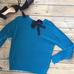Sweaters - Turquoise Back Bow Knit Sweater
